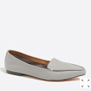 New J.Crew Edie leather loafers in pewter gray